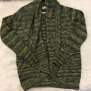 Columbia Sz Medium Green Cardigan Sweater